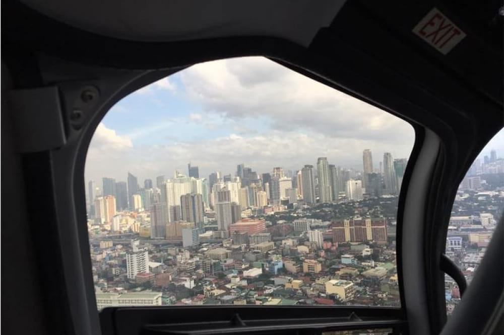 Helicopter View of Metro Manila